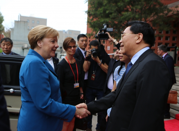 Merkel was welcome by Bai Chunli, President of CAS.